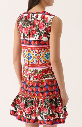 Платье А-силуэта с ярким принтом и оборкой Dolce & Gabbana разноцветное | Фото №4