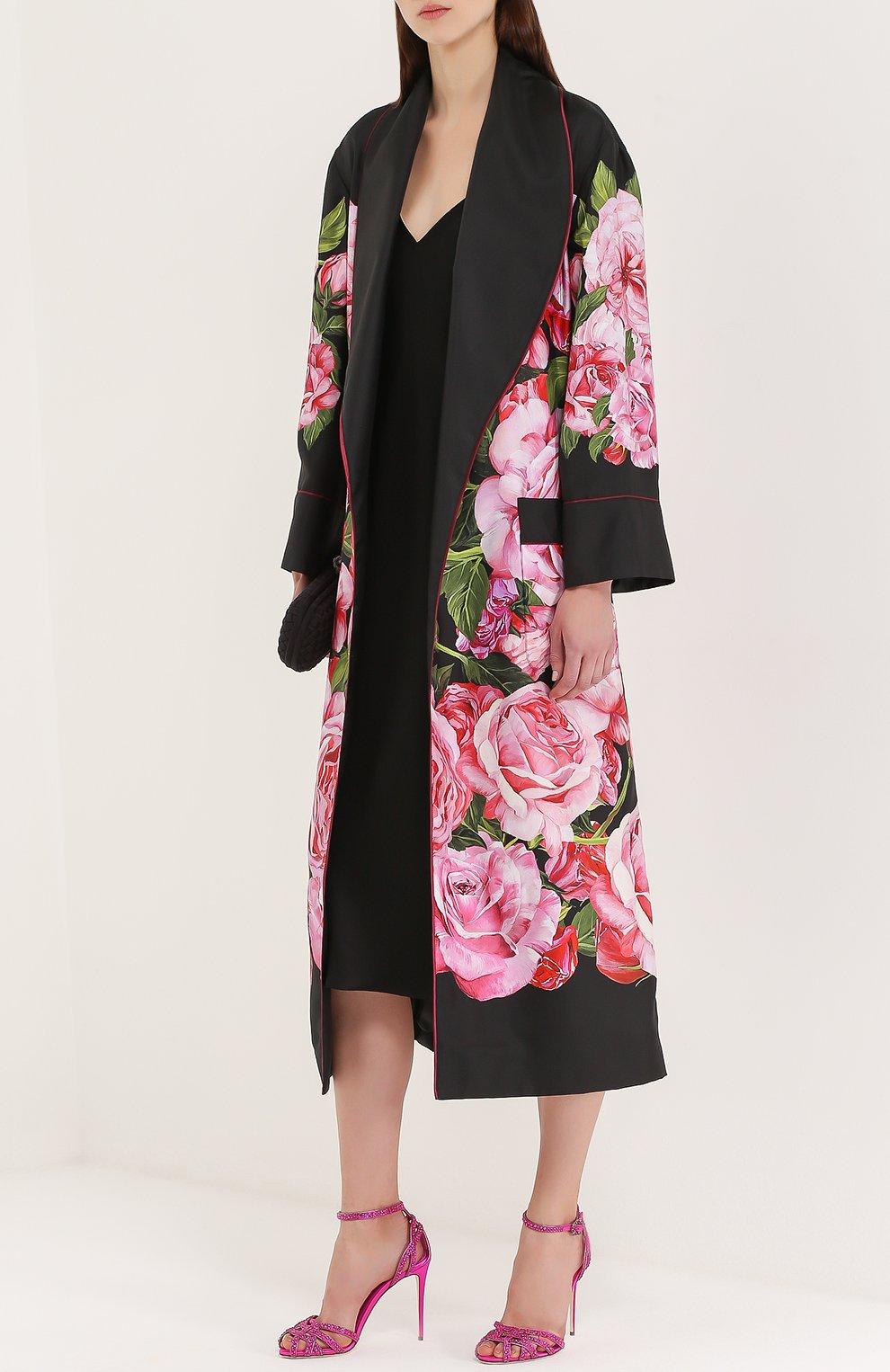 Босоножки со стразами на шпильке Dolce & Gabbana фуксия | Фото №2