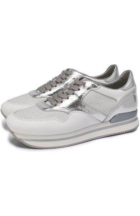 Комбинированные кроссовки на шнуровке Hogan серебряные | Фото №1