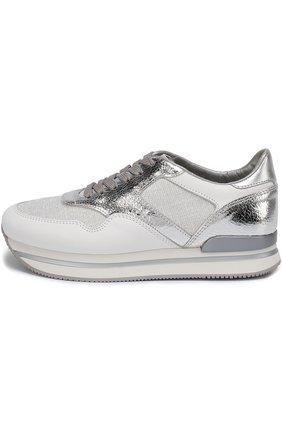 Комбинированные кроссовки на шнуровке Hogan серебряные | Фото №3