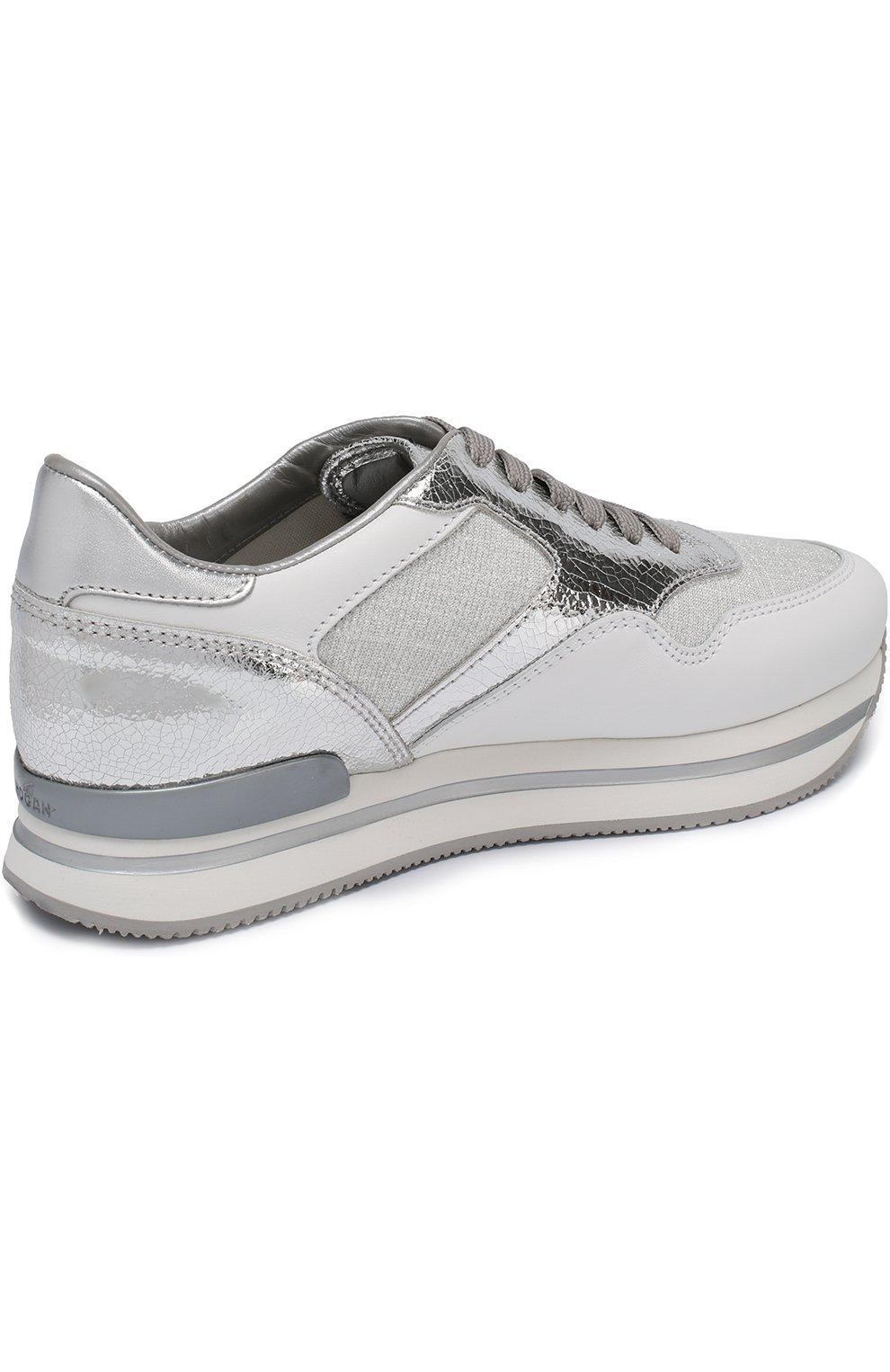 Комбинированные кроссовки на шнуровке Hogan серебряные | Фото №4