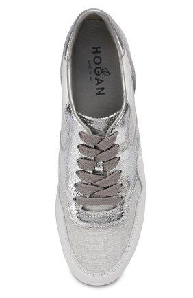 Комбинированные кроссовки на шнуровке Hogan серебряные | Фото №5