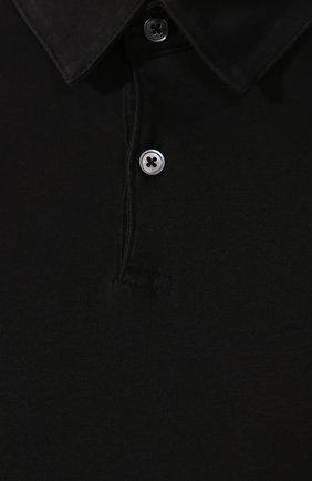 Мужское хлопковое поло JAMES PERSE черного цвета, арт. MSX3337   Фото 5 (Застежка: Пуговицы; Рукава: Короткие; Длина (для топов): Удлиненные; Материал внешний: Хлопок; Статус проверки: Проверено, Проверена категория)