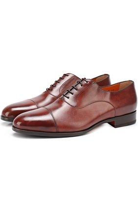 Мужские классические кожаные оксфорды с патинированием SANTONI коричневого цвета, арт. MCKE14285JJ1I0BR | Фото 1