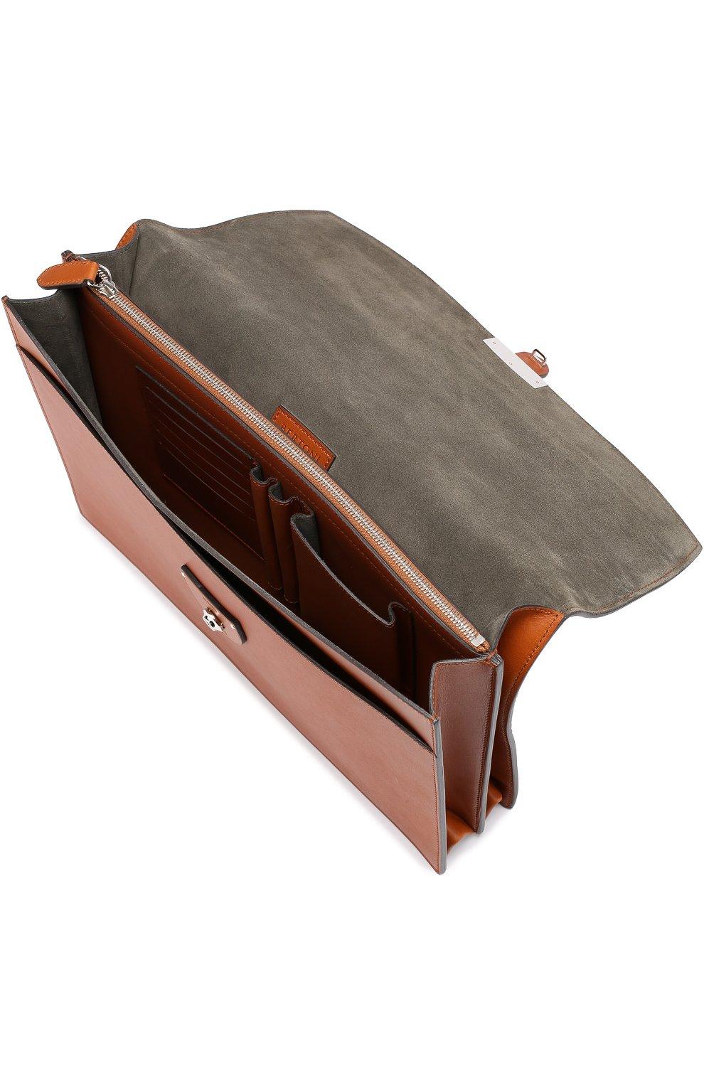 5b7828141ce0 Кожаный портфель с двумя внутренними отделениями Bertoni коричневый | Фото  №4