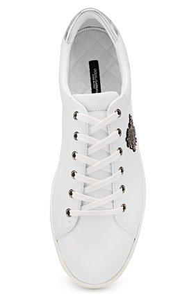 Кожаные кеды London с вышивкой канителью Dolce & Gabbana белые   Фото №5