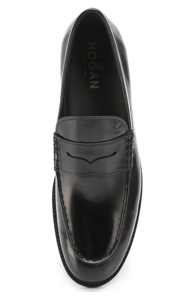 Кожаные пенни-лоферы Hogan черные | Фото №5