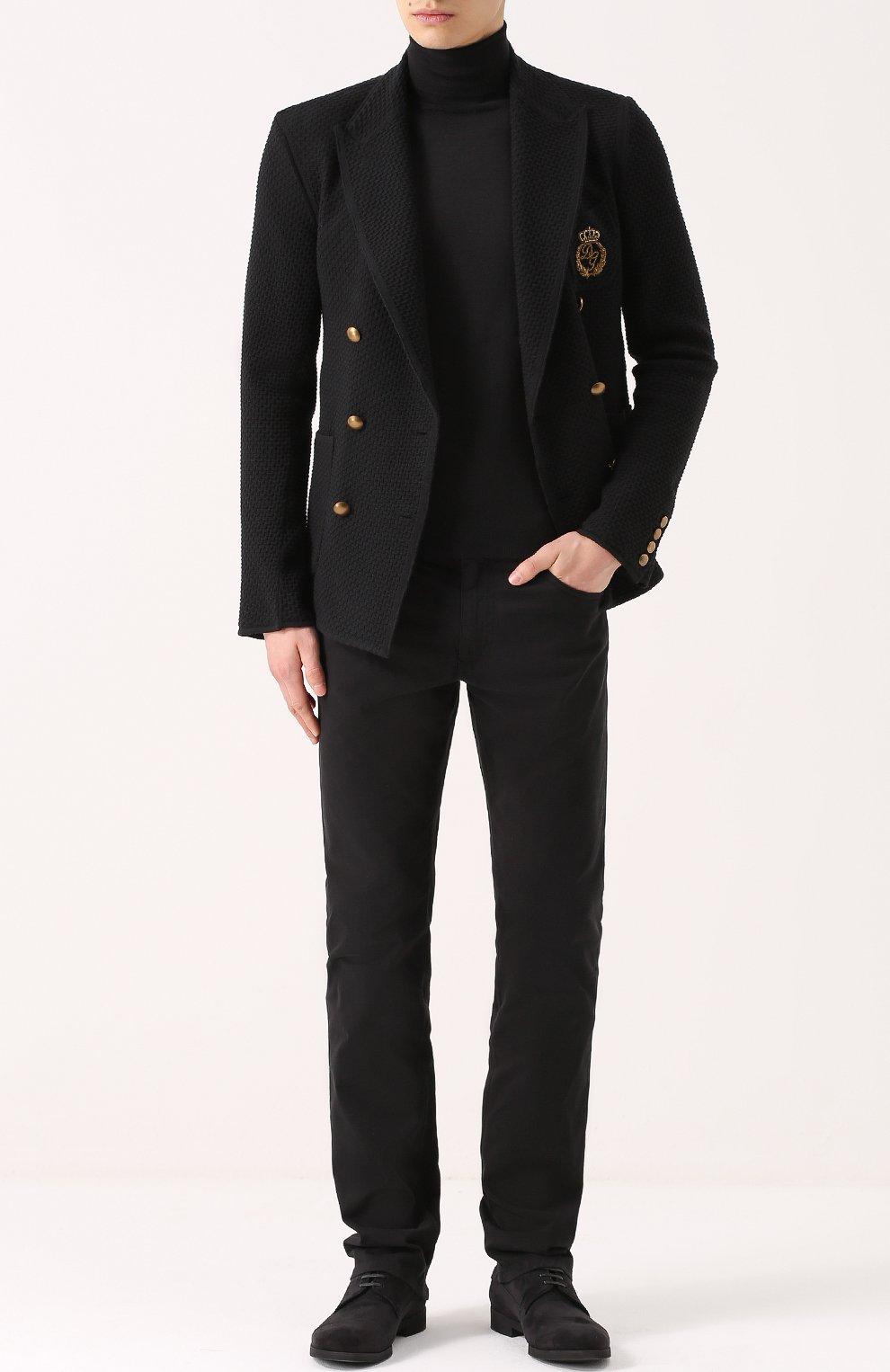 Джинсы прямого кроя из эластичного хлопка Dolce & Gabbana черные | Фото №2