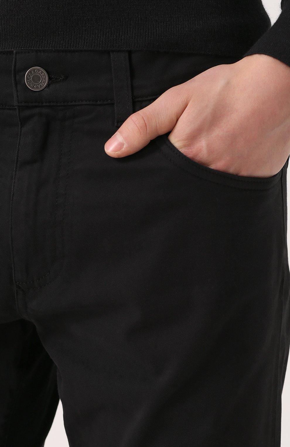 Джинсы прямого кроя из эластичного хлопка Dolce & Gabbana черные | Фото №5
