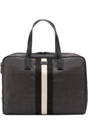Дорожная сумка с отделкой из натуральной кожи Bally черная | Фото №1