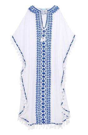 Туника с декоративными кистями и контрастной вышивкой Melissa Odabash белая | Фото №1