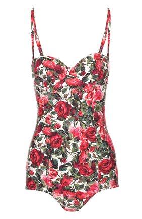 Слитный купальник с открытой спиной и цветочным принтом Dolce & Gabbana красный | Фото №1