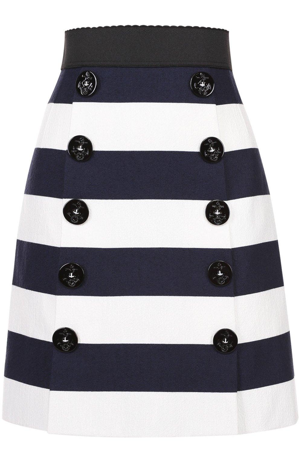 Мини-юбка в контрастную полоску с декоративными пуговицами | Фото №1