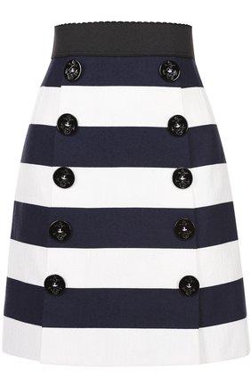 Мини-юбка в контрастную полоску с декоративными пуговицами Dolce & Gabbana синяя | Фото №1