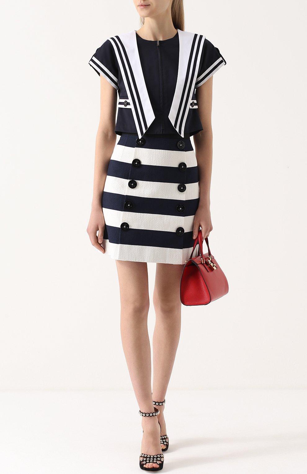 Мини-юбка в контрастную полоску с декоративными пуговицами Dolce & Gabbana синяя | Фото №2