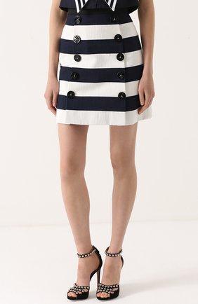 Мини-юбка в контрастную полоску с декоративными пуговицами Dolce & Gabbana синяя | Фото №3