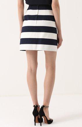 Мини-юбка в контрастную полоску с декоративными пуговицами Dolce & Gabbana синяя | Фото №4