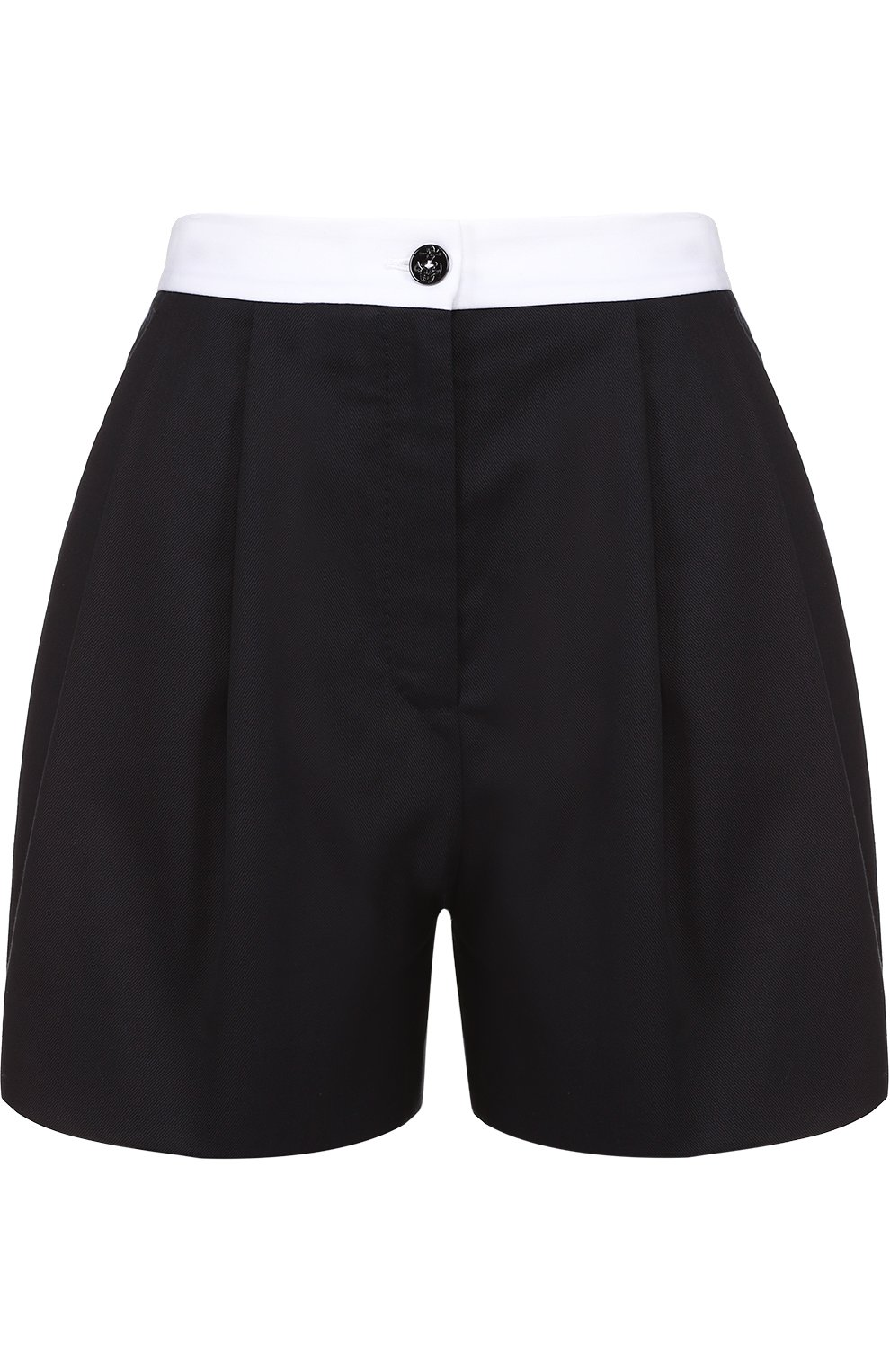 Мини-шорты с защипами и контрастным поясом   Фото №1