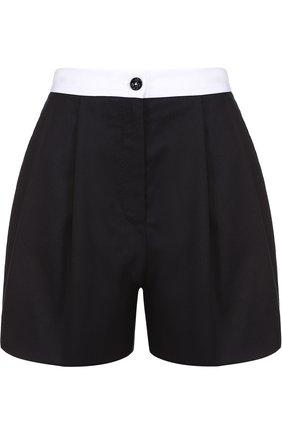 Мини-шорты с защипами и контрастным поясом Dolce & Gabbana синие   Фото №1