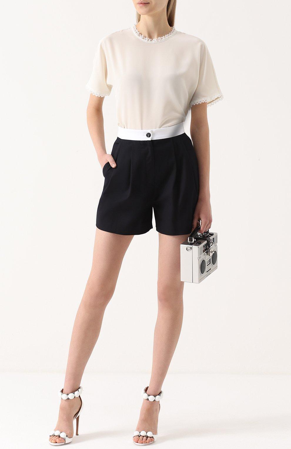 Мини-шорты с защипами и контрастным поясом Dolce & Gabbana синие   Фото №2