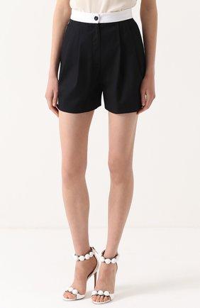 Мини-шорты с защипами и контрастным поясом Dolce & Gabbana синие   Фото №3