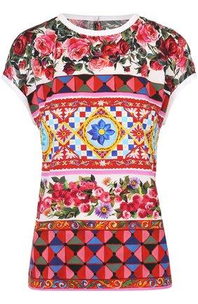Шелковый топ прямого кроя с ярким принтом Dolce & Gabbana разноцветный   Фото №1