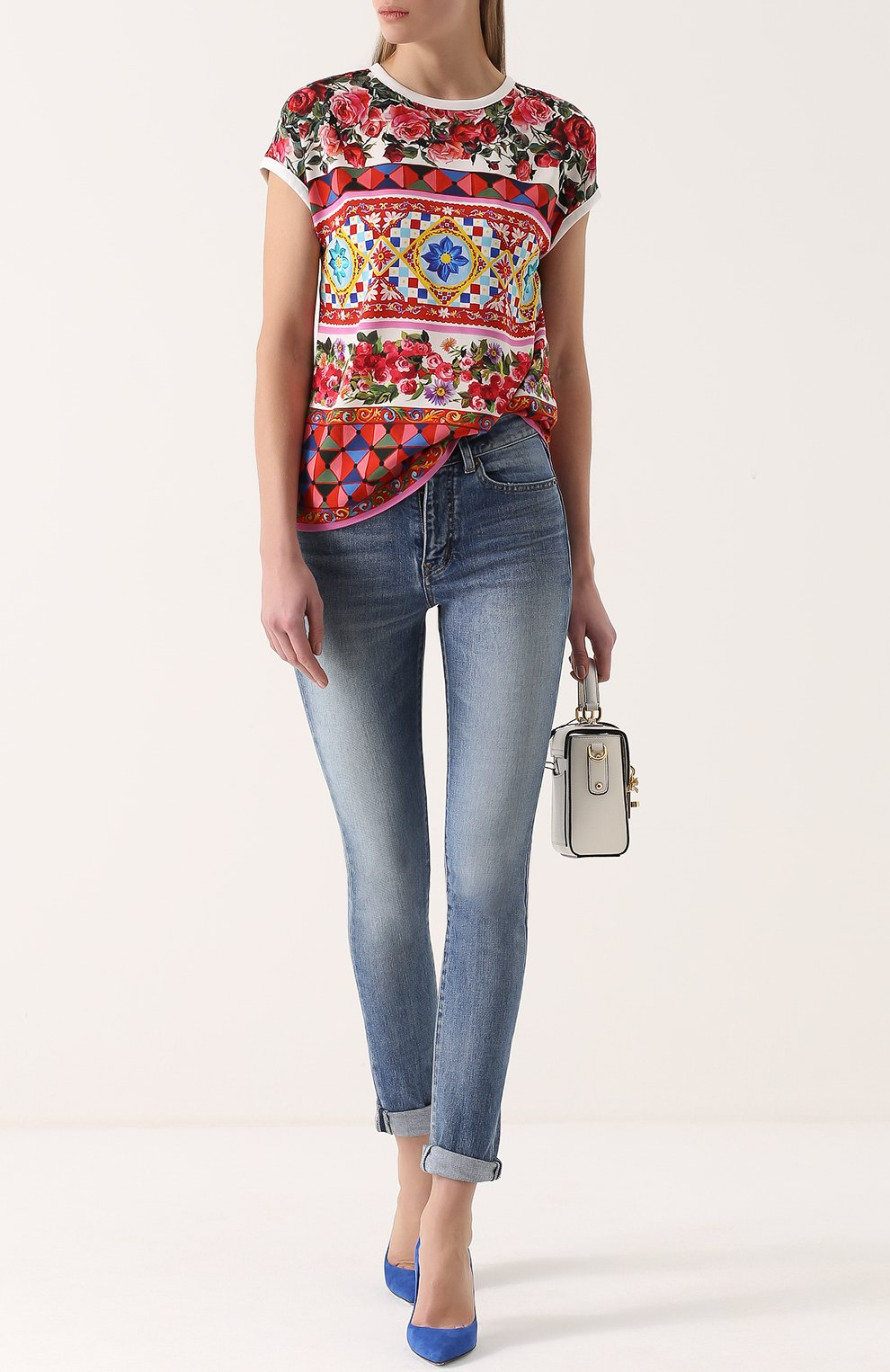 Шелковый топ прямого кроя с ярким принтом Dolce & Gabbana разноцветный   Фото №2