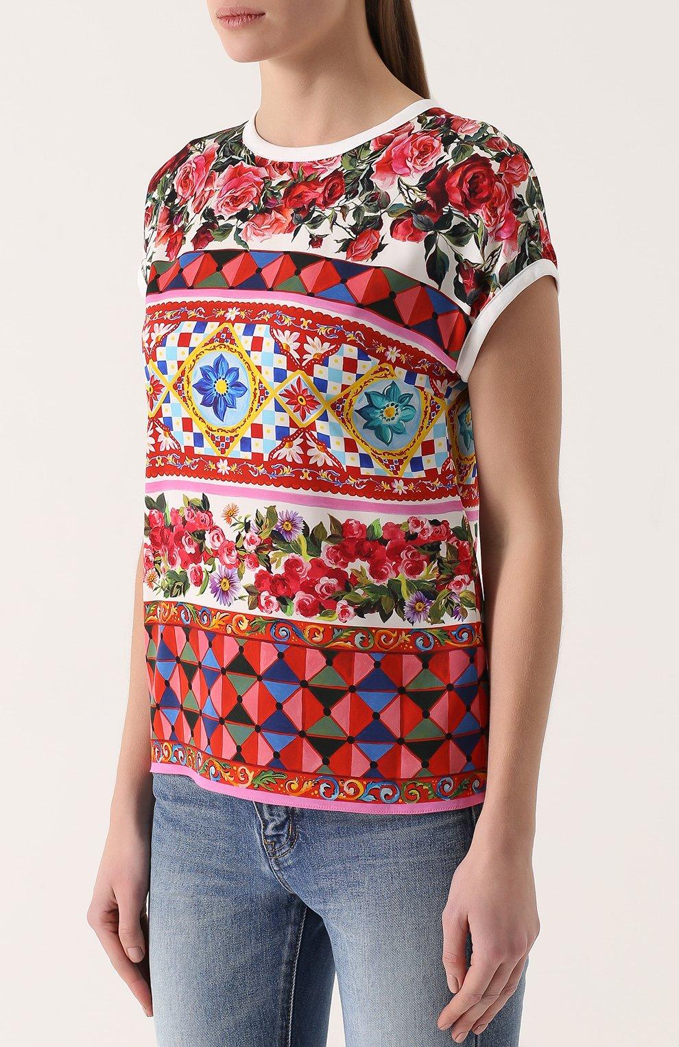 Шелковый топ прямого кроя с ярким принтом Dolce & Gabbana разноцветный   Фото №3