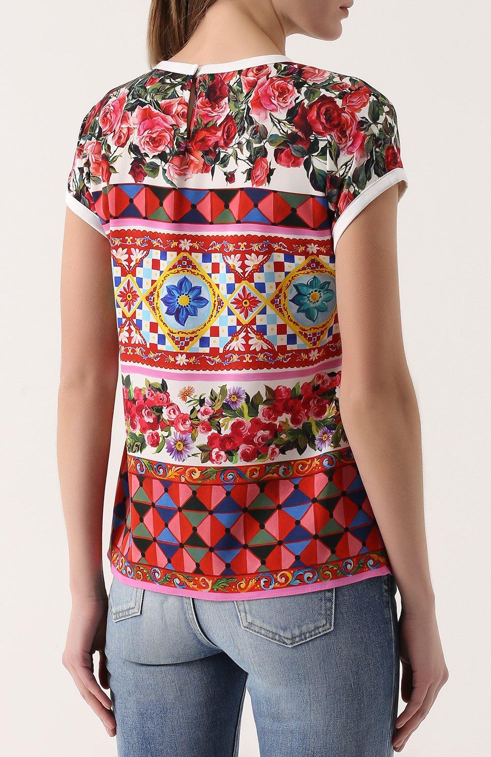 Шелковый топ прямого кроя с ярким принтом Dolce & Gabbana разноцветный   Фото №4
