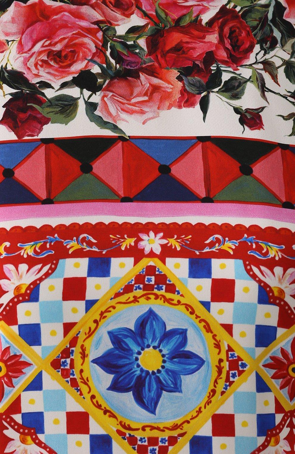 Шелковый топ прямого кроя с ярким принтом Dolce & Gabbana разноцветный   Фото №5