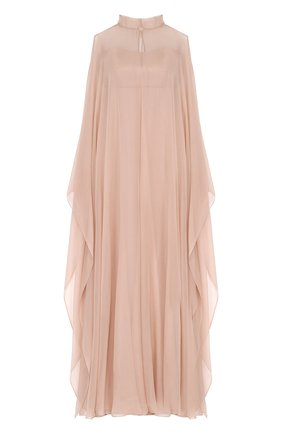 Платье-макси с прозрачным шелковым кейпом    Фото №1