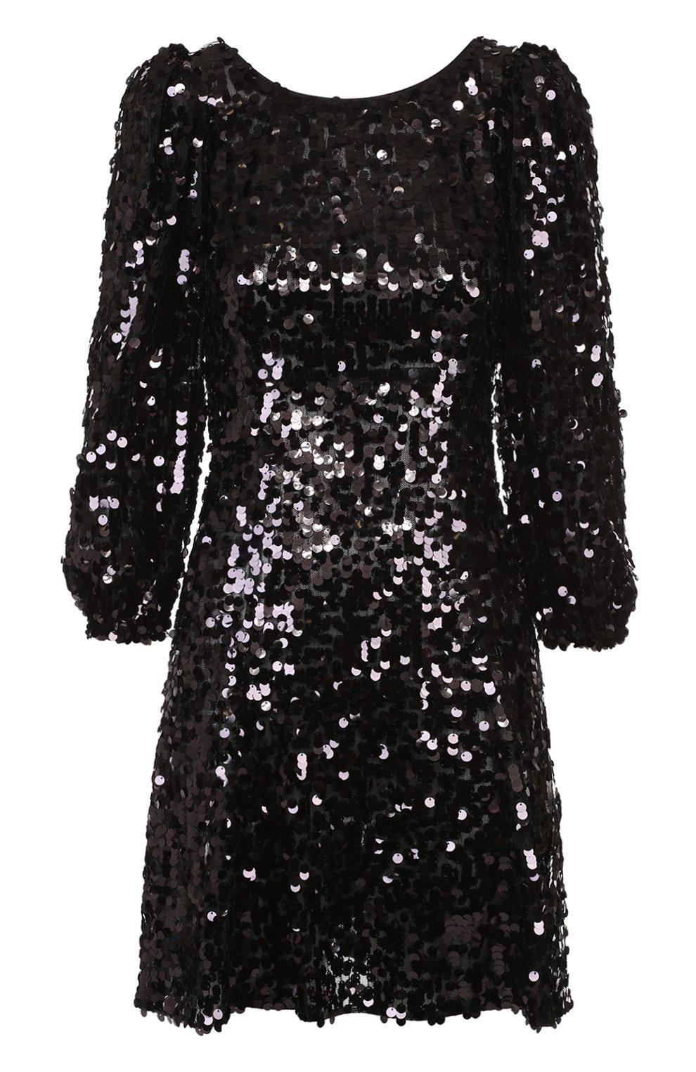 Мини-платье с пайетками и рукавом-фонарик | Фото №1