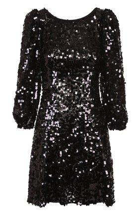 Мини-платье с пайетками и рукавом-фонарик Dolce & Gabbana черное | Фото №1