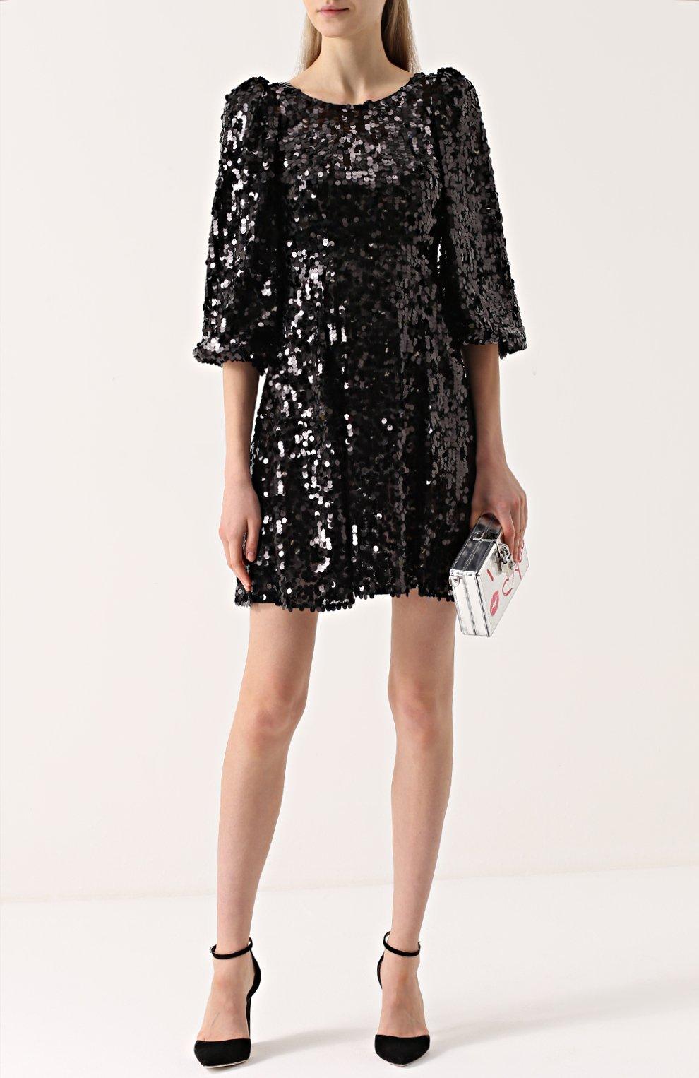 Мини-платье с пайетками и рукавом-фонарик Dolce & Gabbana черное | Фото №2