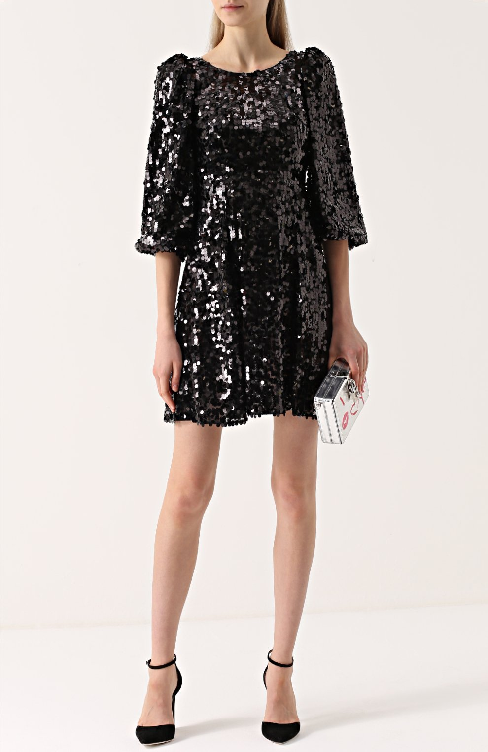 Мини-платье с пайетками и рукавом-фонарик | Фото №2