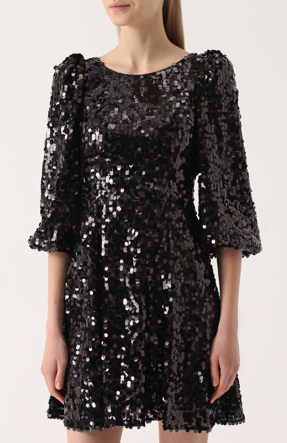 Мини-платье с пайетками и рукавом-фонарик Dolce & Gabbana черное | Фото №3