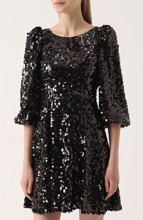 Мини-платье с пайетками и рукавом-фонарик | Фото №3