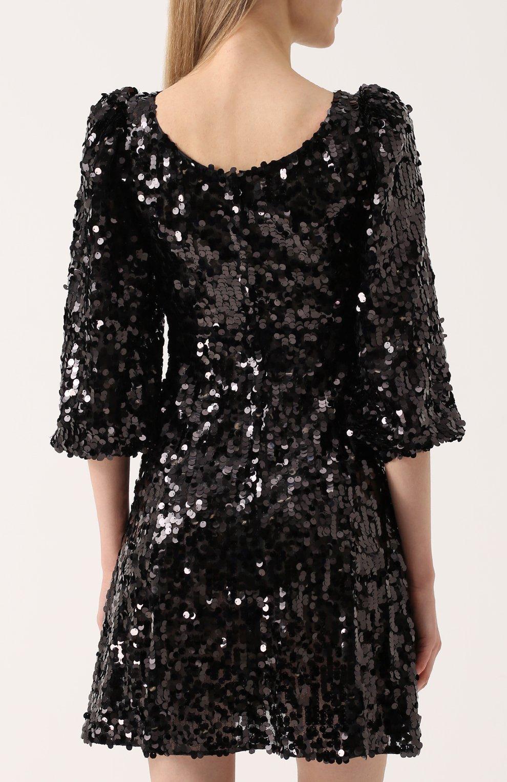 Мини-платье с пайетками и рукавом-фонарик Dolce & Gabbana черное | Фото №4