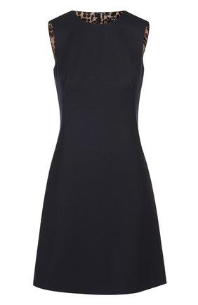 Приталенное мини-платье без рукавов Dolce & Gabbana темно-синее | Фото №1