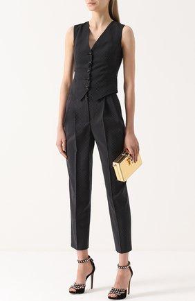 Укороченные брюки-бананы в горох Dolce & Gabbana черные | Фото №2