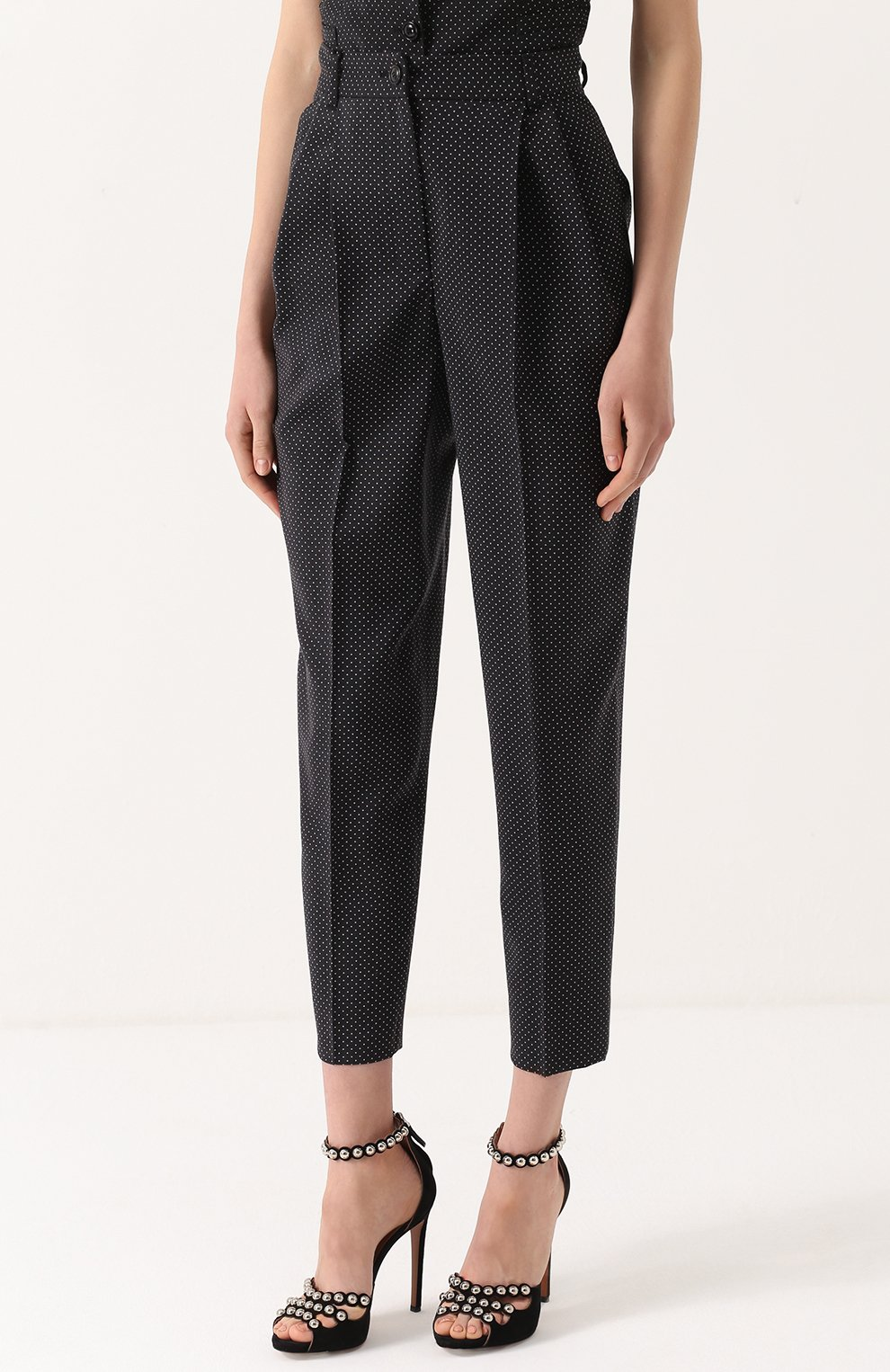 Укороченные брюки-бананы в горох Dolce & Gabbana черные | Фото №3