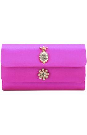 Атласный клатч Dorina с кристаллами Dolce & Gabbana фуксия цвета | Фото №1