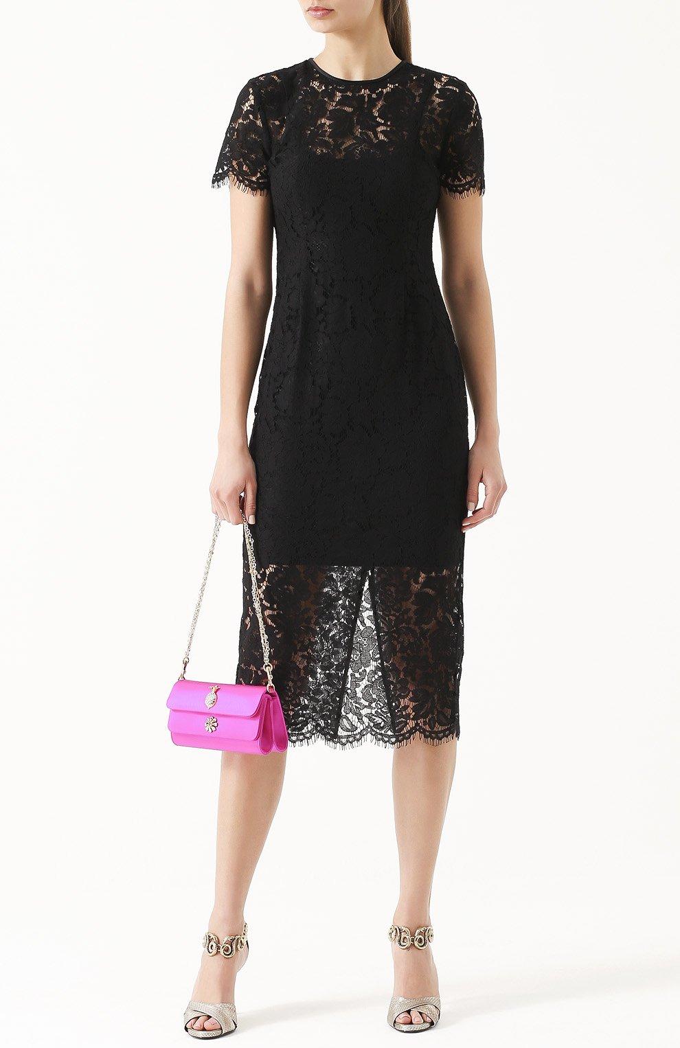 Атласный клатч Dorina с кристаллами Dolce & Gabbana фуксия цвета | Фото №2
