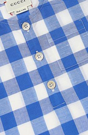 Детское песочник из смеси хлопка и льна GUCCI голубого цвета, арт. 452631/XB381 | Фото 3
