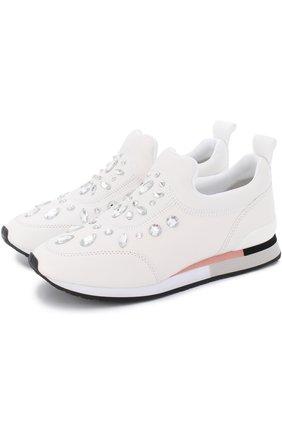 Кожаные кроссовки с кристаллами Tory Burch белые | Фото №1