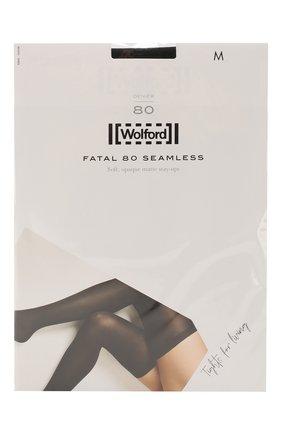 Женские капроновые чулки с гладкой отделкой WOLFORD черного цвета, арт. 28042 | Фото 1
