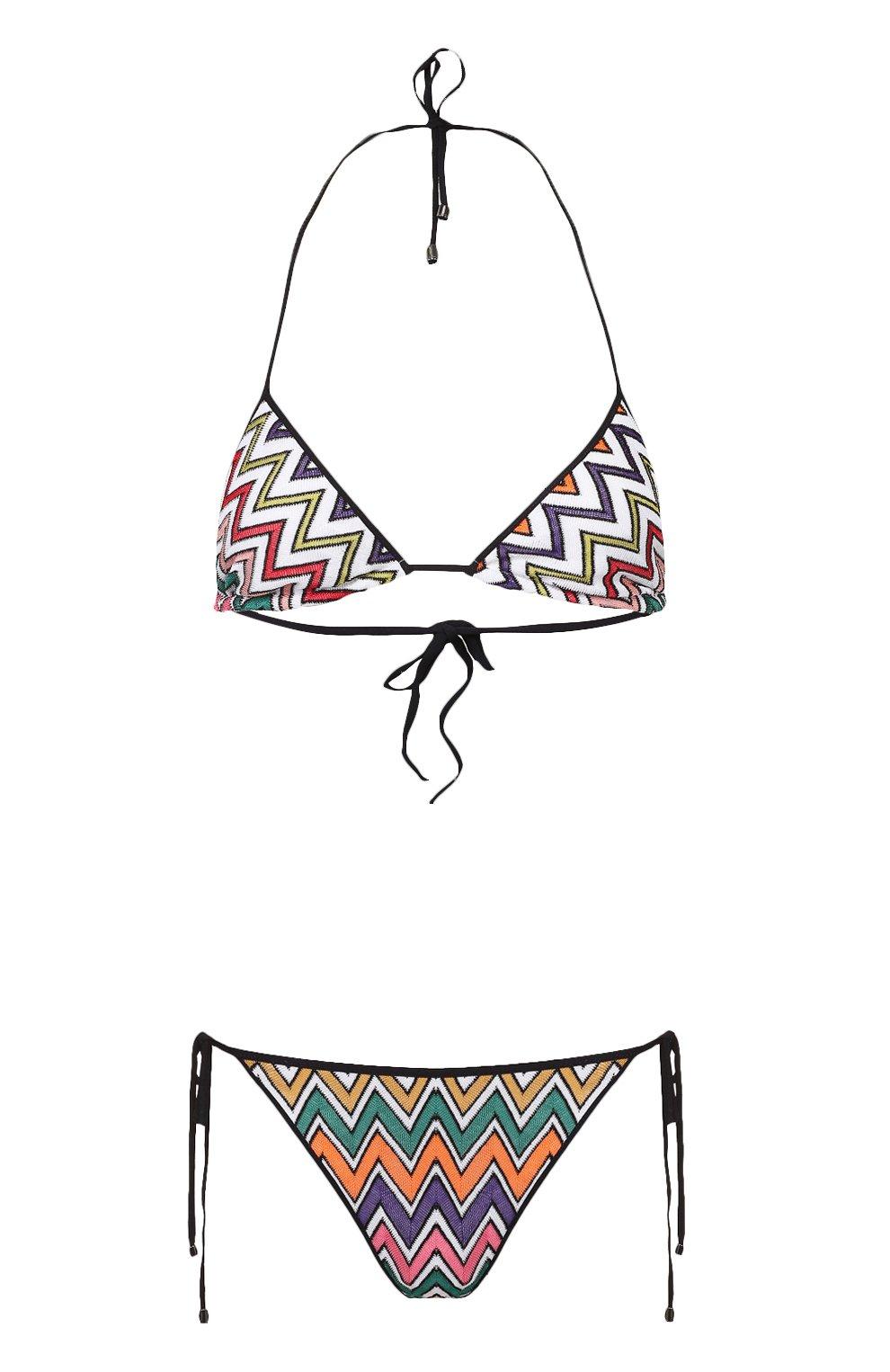 Раздельный купальник с треугольным бра и контрастным принтом | Фото №1