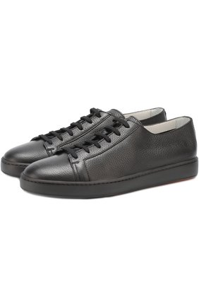 Кожаные кеды на шнуровке Santoni черные   Фото №1