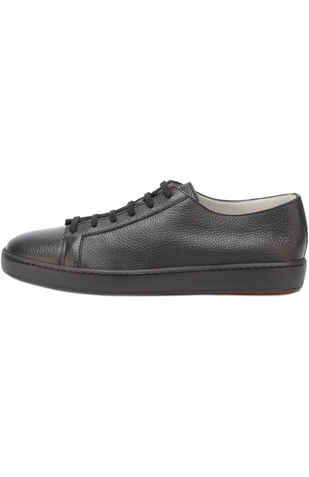 Кожаные кеды на шнуровке Santoni черные   Фото №3