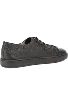 Кожаные кеды на шнуровке Santoni черные   Фото №4